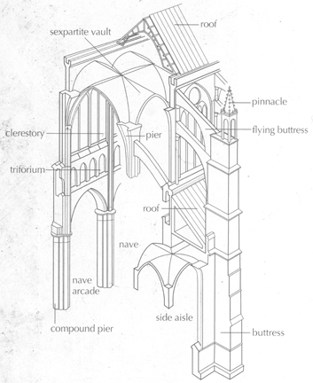 Based On Chartres Proportions This Illlustrations Shows The Major Architectural Components Of A Gothic Cathedral And Some Construction Techniques